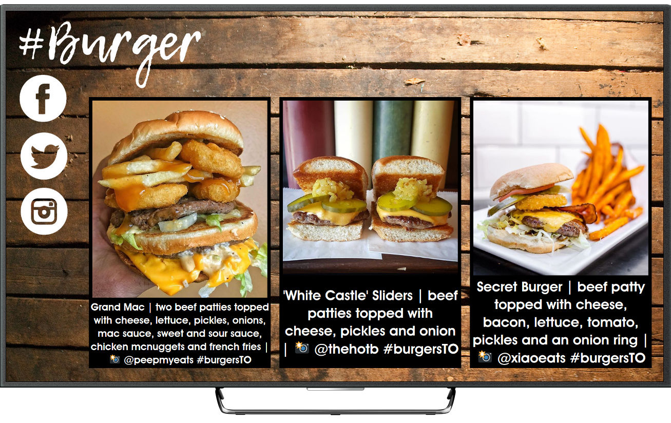 Social media photos on digital signage