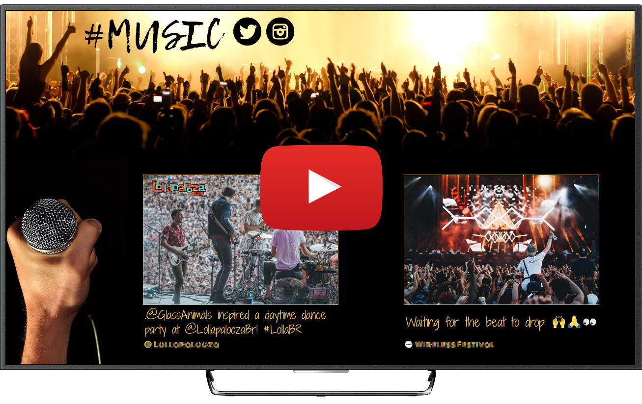 Social media wall for music festivals